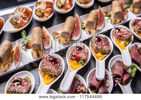Gourmet appetizers: foie gras, venison, tuna and salmon.