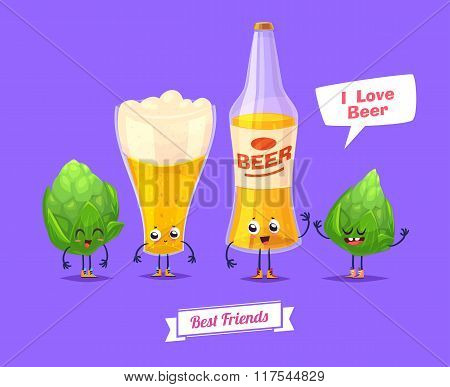 Set of beer characters. Vector cute cartoons