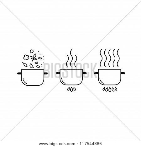 Cooking line icons set.