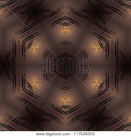 Seamless hexagon pattern metallic brown gold