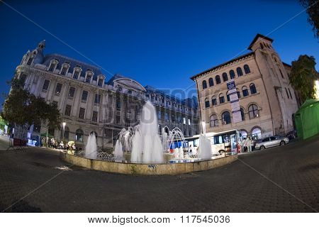 Bucharest, Romania - September 20, 2015: University Square At Night, Bucharest Downtown - Panoramic
