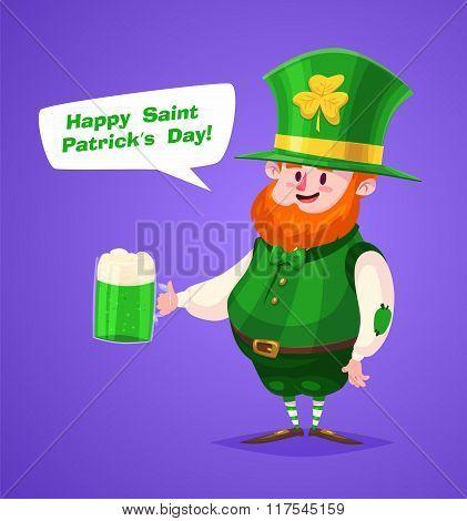 Set of Saint Patrick Day character. Vector cute cartoons