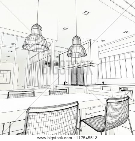 3D rendering of an impressive industrial style kitchen in black and white