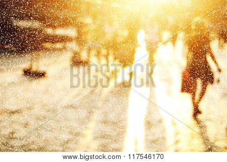 City commuters in winter