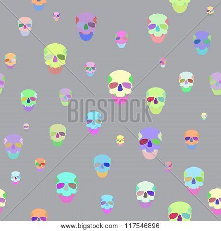 Seamless With Motley Skulls