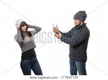 Boyfriend Taking Picture Of His Girlfriend
