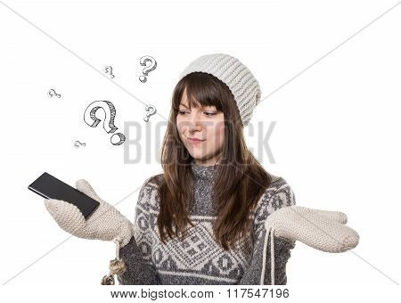 Confused Young Woman With Smart Phone