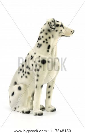 Statuette Of Dog  Isolated On White Background With Clipping Path