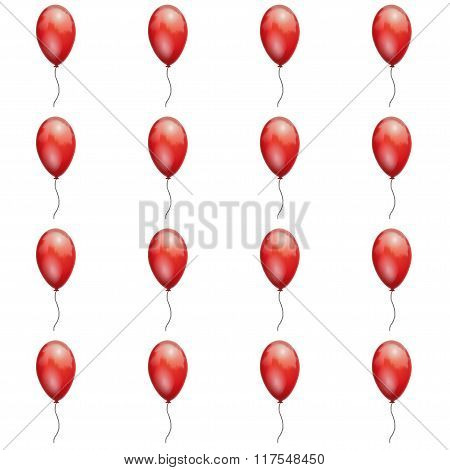 Seamless background of red balloons on a white background.