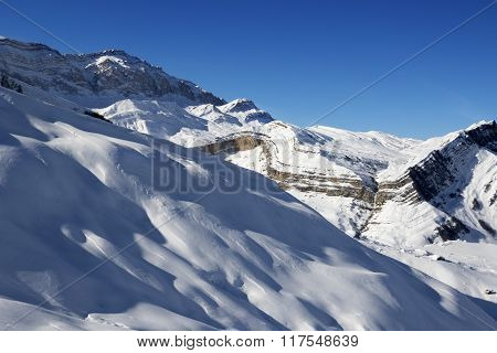 Off-piste Slope At Nice Sun Evening
