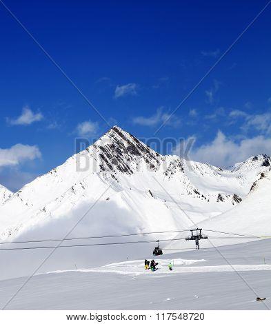 Ski Resort At Nice Sun Day After Snowfall
