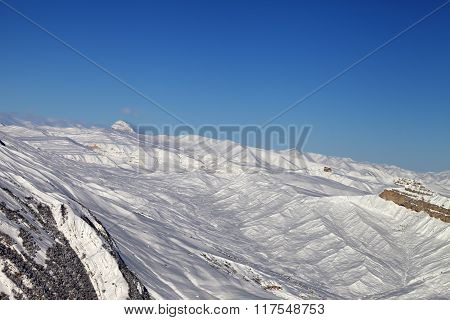 Winter Snowy Mountains At Nice Sun Day