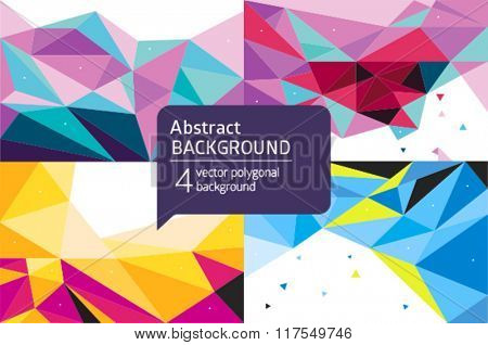 Vector set colorful geometric abstract background.