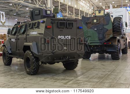 Kiev, Ukraine - September 08, 2015: Armored Cars Production Of Kraz At The Specialized Exhibition