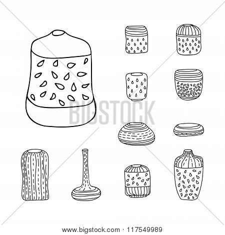Vector Isolated Vases Set