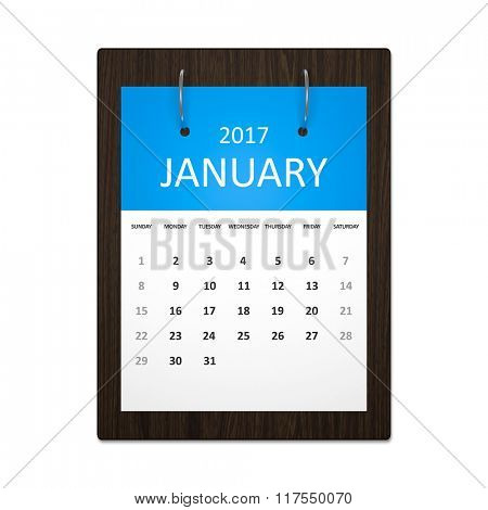 An image of a stylish calendar for event planning 2017 january