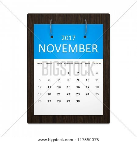 An image of a stylish calendar for event planning 2017 november
