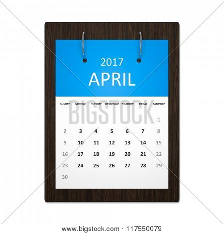 An image of a stylish calendar for event planning 2017 april