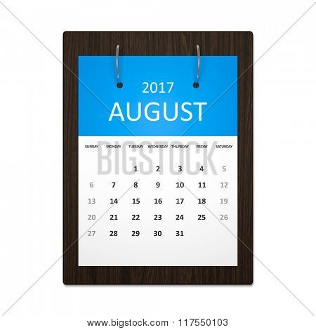 An image of a stylish calendar for event planning 2017 august