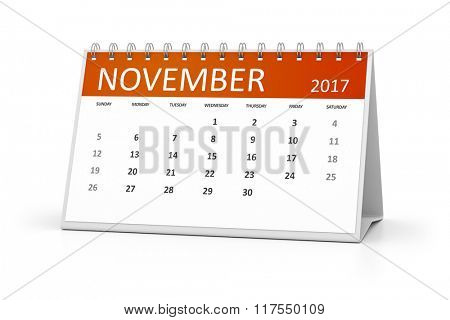 An image of a table calendar for your events 2017 november