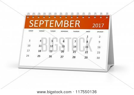 An image of a table calendar for your events 2017 september