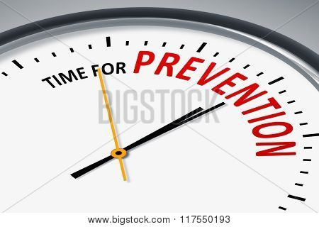 An image of a typical clock with text time for prevention