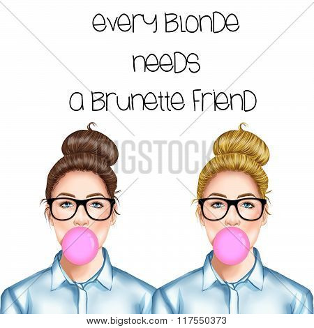 Hand drawn illustration of a blonde and a brunette girl with eye glasses