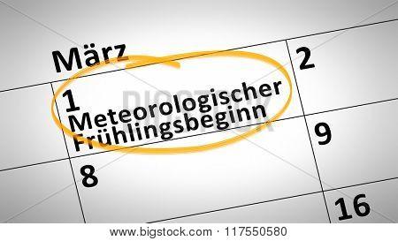 calendar detail shows meteorological spring beginning 1st of march in german language