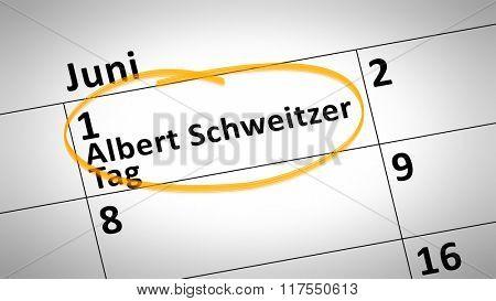 calendar detail shows Albert Schweitzer day first of june in german language