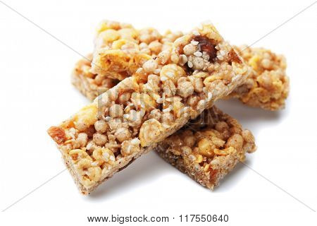 Cereal granola bars isolated on white background