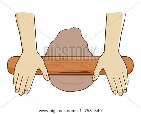 Hand Rolling Dough With Wooden Roller