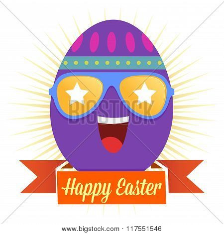 Easter Greetings With Egg Wearing Sun Glasses