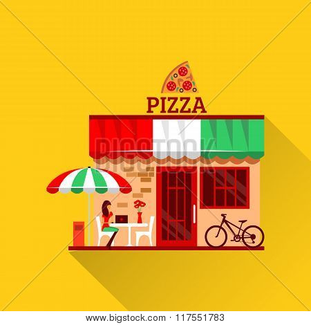 Vector of pizza restaurant with terrace in front