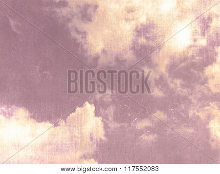 Vintage background purple - abstract sky with sunshine and clouds