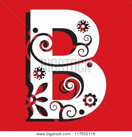 floral ABC, ornamental letter B