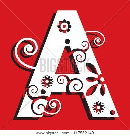 floral ABC, ornamental letter A