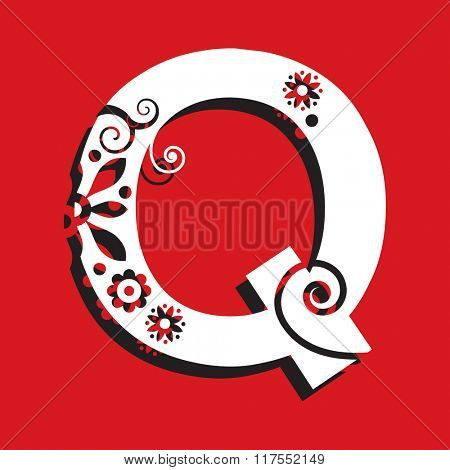 floral ABC, ornamental letter Q
