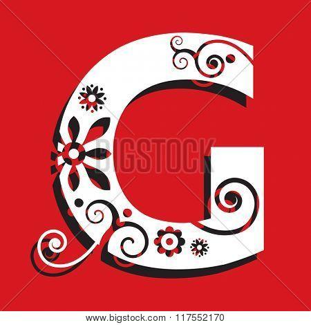 floral ABC, ornamental letter G