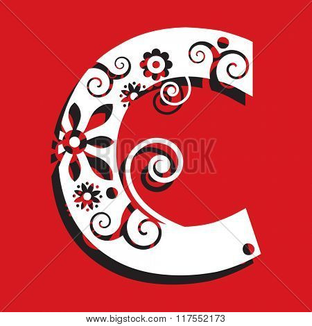 floral ABC, ornamental letter C