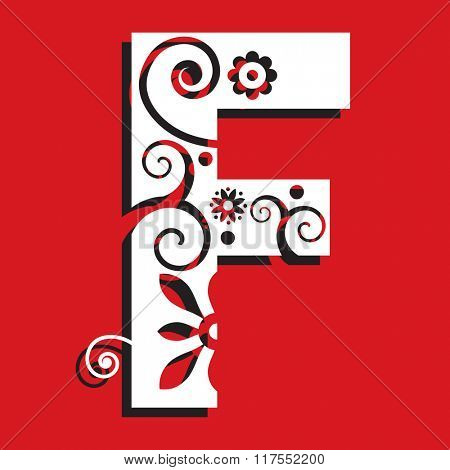 floral ABC, ornamental letter F