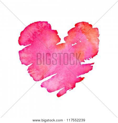 Watercolor heart background with red, pink, orange stains. Vector illustration