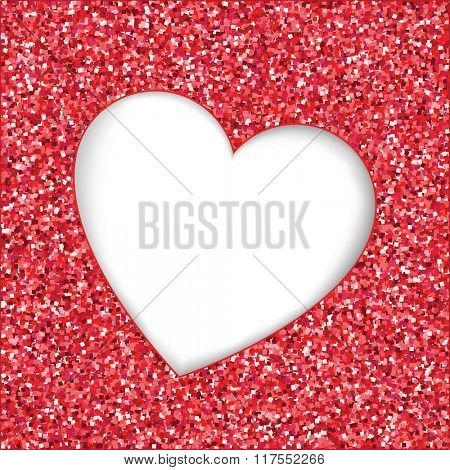Red glitter texture with heart cutout frame. White background with space for text. EPS10 vector format