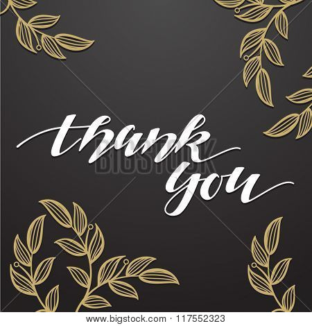 Thank You vector hand signature calligraphic lettering on black background with gold floral ornament. Handmade postcard.