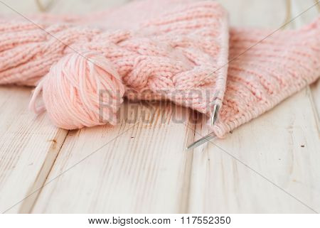 Close Up Of Wool And Knitting Needles