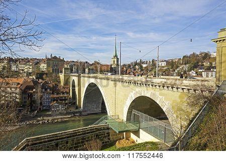 Bern, Nydeggbruecke Bridge Over River Aare