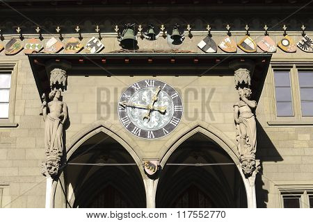 Clock Above The Porch Of Town Hall In Bern