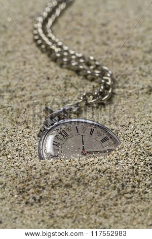 Old Pocket Watch On The Sand.