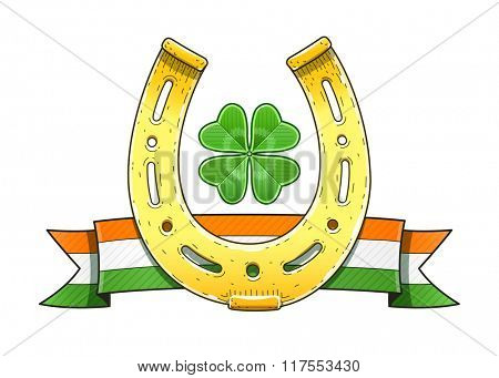 Saint patrick day symbol horseshoe flag. Vector illustration. Isolated on white background. Transparent objects used for lights and shadows drawing