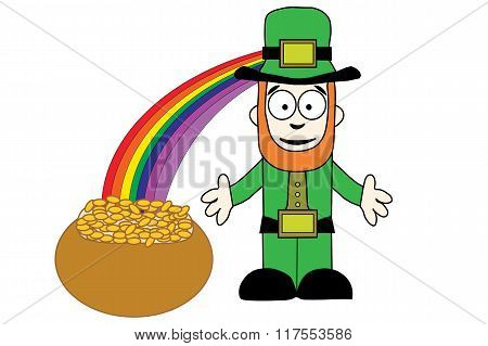 Leprechaun With Pot Of Gold At End Of Rainbow