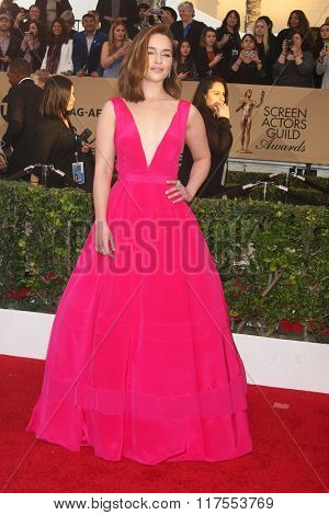 LOS ANGELES - JAN 30:  Emilia Clarke at the 22nd Screen Actors Guild Awards at the Shrine Auditorium on January 30, 2016 in Los Angeles, CA